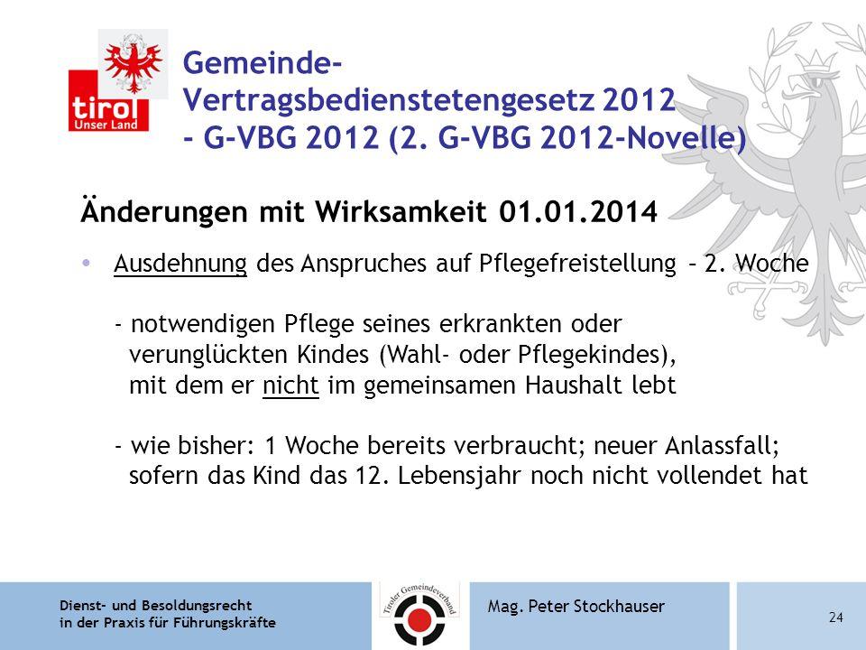 Dienst- und Besoldungsrecht in der Praxis für Führungskräfte 24 Mag. Peter Stockhauser Gemeinde- Vertragsbedienstetengesetz 2012 - G-VBG 2012 (2. G-VB