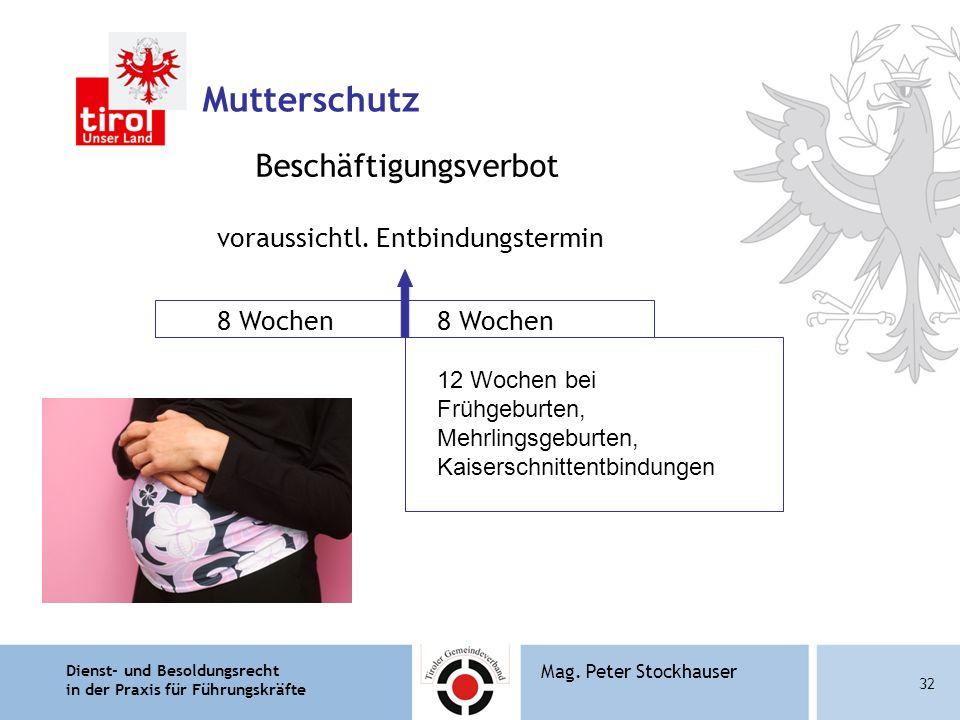 Dienst- und Besoldungsrecht in der Praxis für Führungskräfte 32 Mag. Peter Stockhauser Mutterschutz Beschäftigungsverbot voraussichtl. Entbindungsterm