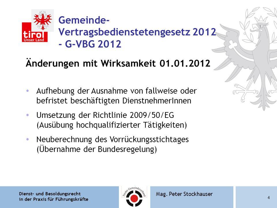 Dienst- und Besoldungsrecht in der Praxis für Führungskräfte 4 Mag. Peter Stockhauser Gemeinde- Vertragsbedienstetengesetz 2012 - G-VBG 2012 Änderunge