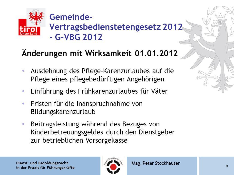 Dienst- und Besoldungsrecht in der Praxis für Führungskräfte 9 Mag. Peter Stockhauser Gemeinde- Vertragsbedienstetengesetz 2012 - G-VBG 2012 Änderunge