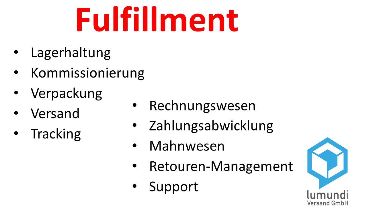Fulfillment Lagerhaltung Kommissionierung Verpackung Versand Tracking Rechnungswesen Zahlungsabwicklung Mahnwesen Retouren-Management Support