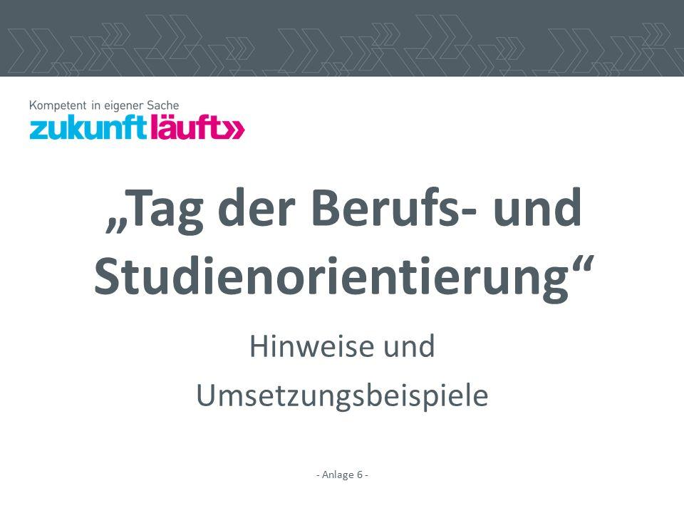 """""""Tag der Berufs- und Studienorientierung"""" Hinweise und Umsetzungsbeispiele - Anlage 6 -"""