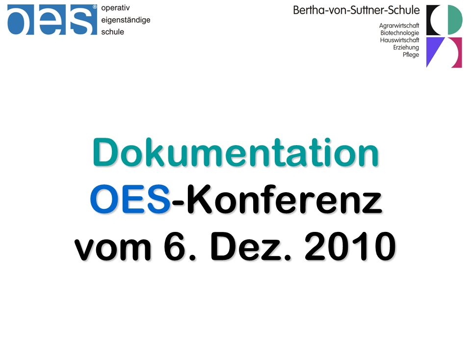 Dokumentation OES-Konferenz vom 6. Dez. 2010