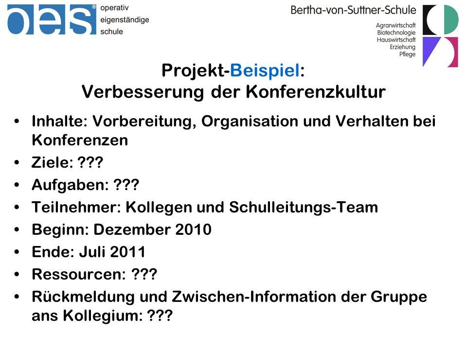 Projekt-Beispiel: Verbesserung der Konferenzkultur Inhalte: Vorbereitung, Organisation und Verhalten bei Konferenzen Ziele: ??? Aufgaben: ??? Teilnehm