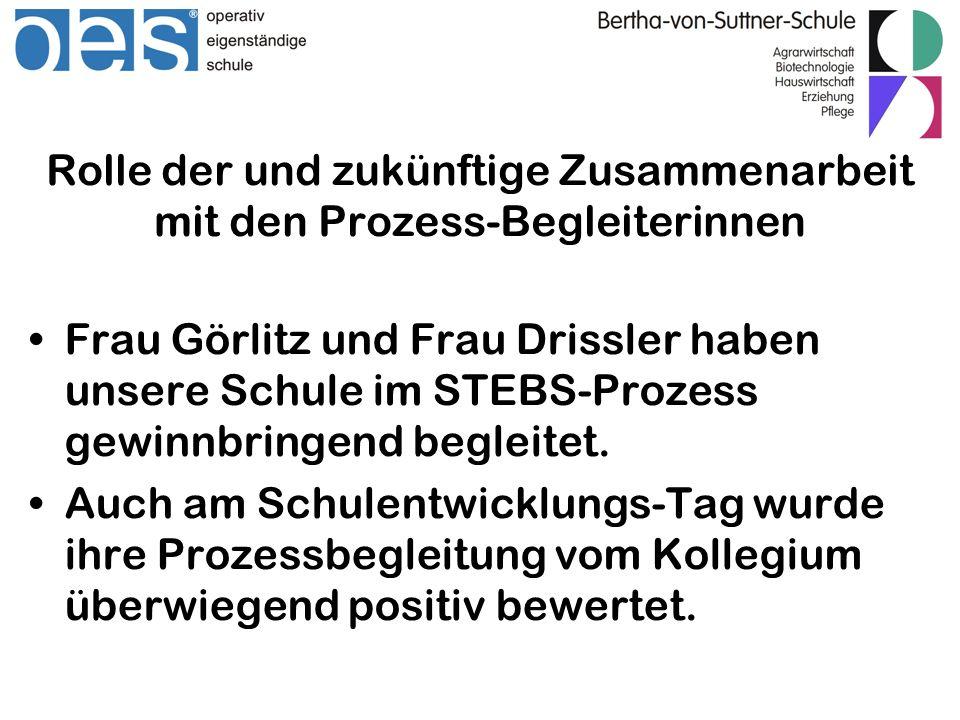 Rolle der und zukünftige Zusammenarbeit mit den Prozess-Begleiterinnen Frau Görlitz und Frau Drissler haben unsere Schule im STEBS-Prozess gewinnbring