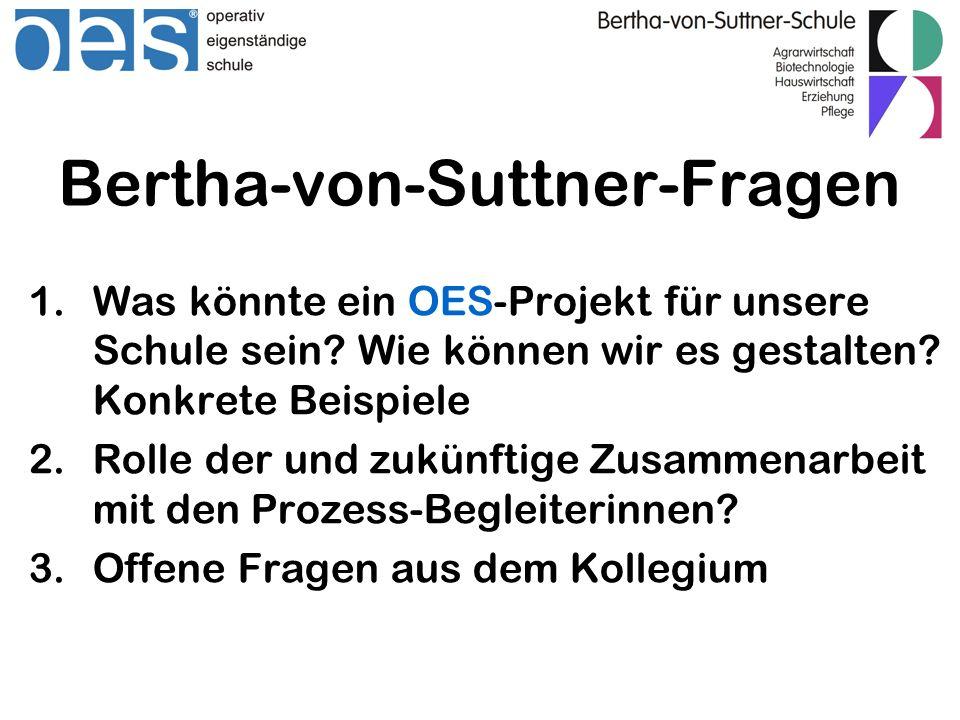 Bertha-von-Suttner-Fragen 1.Was könnte ein OES-Projekt für unsere Schule sein? Wie können wir es gestalten? Konkrete Beispiele 2.Rolle der und zukünft