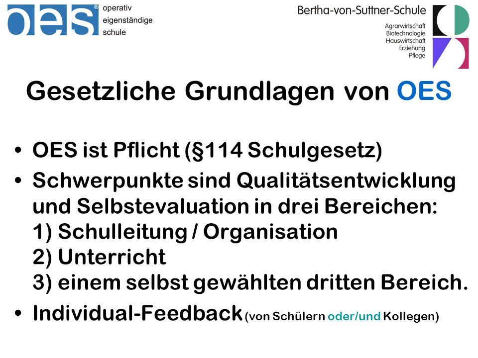 Gesetzliche Grundlagen von OES OES ist Pflicht (§114 Schulgesetz) Schwerpunkte sind Qualitätsentwicklung und Selbstevaluation in drei Bereichen: 1) Schulleitung / Organisation 2) Unterricht 3) einem selbst gewählten dritten Bereich.