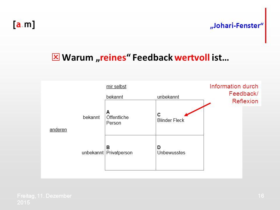 """Freitag, 11. Dezember 2015 16 """"Johari-Fenster""""  Warum """"reines"""" Feedback wertvoll ist… Information durch Feedback/ Reflexion"""