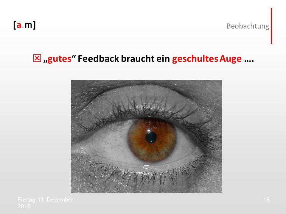 """Freitag, 11. Dezember 2015 18 Beobachtung  """"gutes"""" Feedback braucht ein geschultes Auge …."""