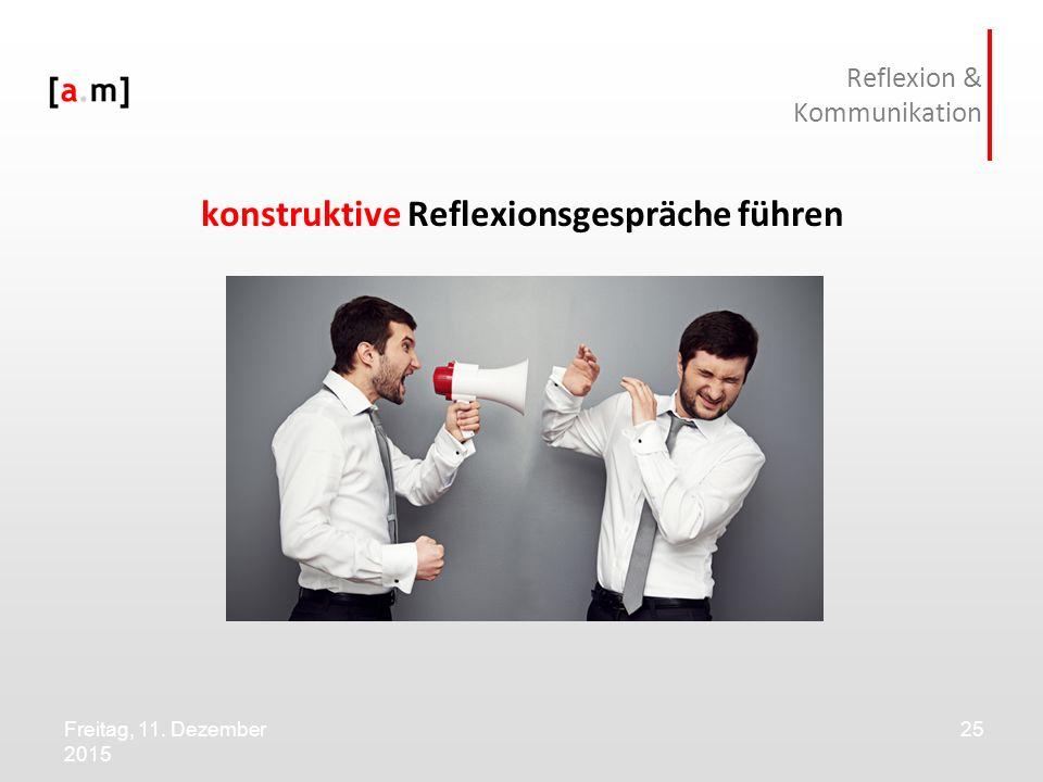Freitag, 11. Dezember 2015 25 Reflexion & Kommunikation konstruktive Reflexionsgespräche führen