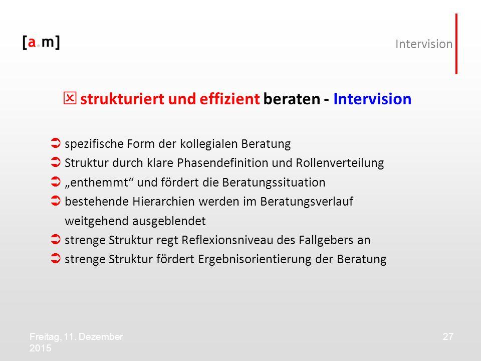 Freitag, 11. Dezember 2015 27 Intervision  strukturiert und effizient beraten - Intervision  spezifische Form der kollegialen Beratung  Struktur du