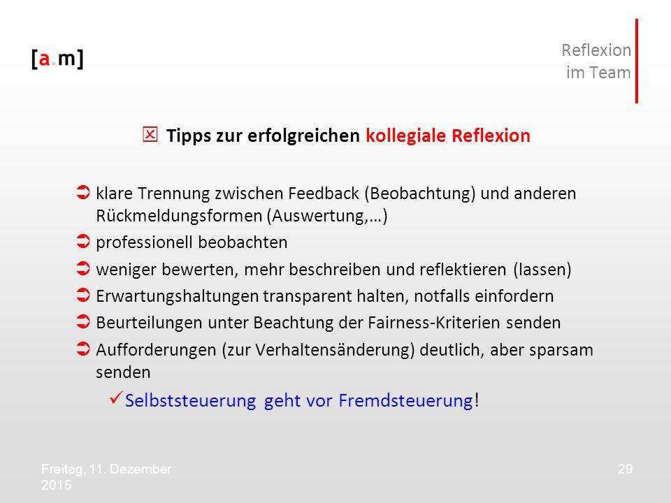 Freitag, 11. Dezember 2015 29 Reflexion im Team  Tipps zur erfolgreichen kollegiale Reflexion  klare Trennung zwischen Feedback (Beobachtung) und an