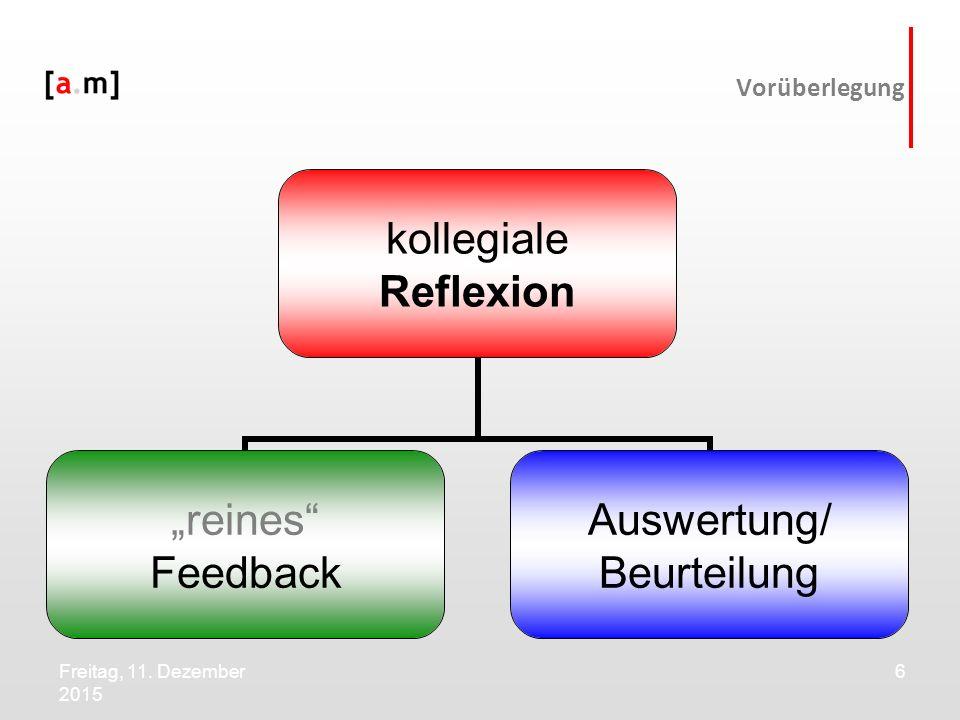"""Freitag, 11. Dezember 2015 6 Vorüberlegung kollegiale Reflexion """"reines"""" Feedback Auswertung/ Beurteilung"""