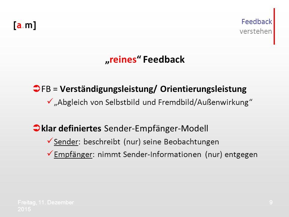 """Freitag, 11. Dezember 2015 9 Feedback verstehen """"reines"""" Feedback  FB = Verständigungsleistung/ Orientierungsleistung """"Abgleich von Selbstbild und Fr"""