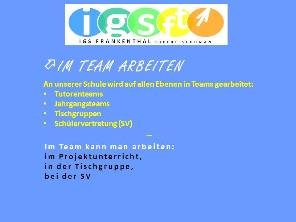  IM TEAM ARBEITEN Im Team kann man arbeiten: im Projektunterricht, in der Tischgruppe, bei der SV An unserer Schule wird auf allen Ebenen in Teams ge