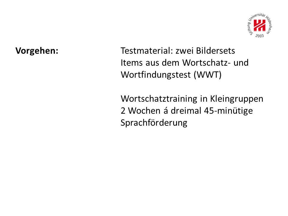 Vorgehen:Testmaterial: zwei Bildersets Items aus dem Wortschatz- und Wortfindungstest (WWT) Wortschatztraining in Kleingruppen 2 Wochen á dreimal 45-minütige Sprachförderung