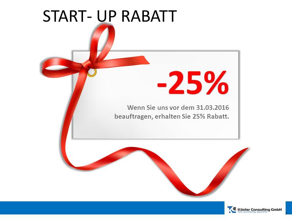 10 START- UP RABATT -25% Wenn Sie uns vor dem 31.03.2016 beauftragen, erhalten Sie 25% Rabatt. 10