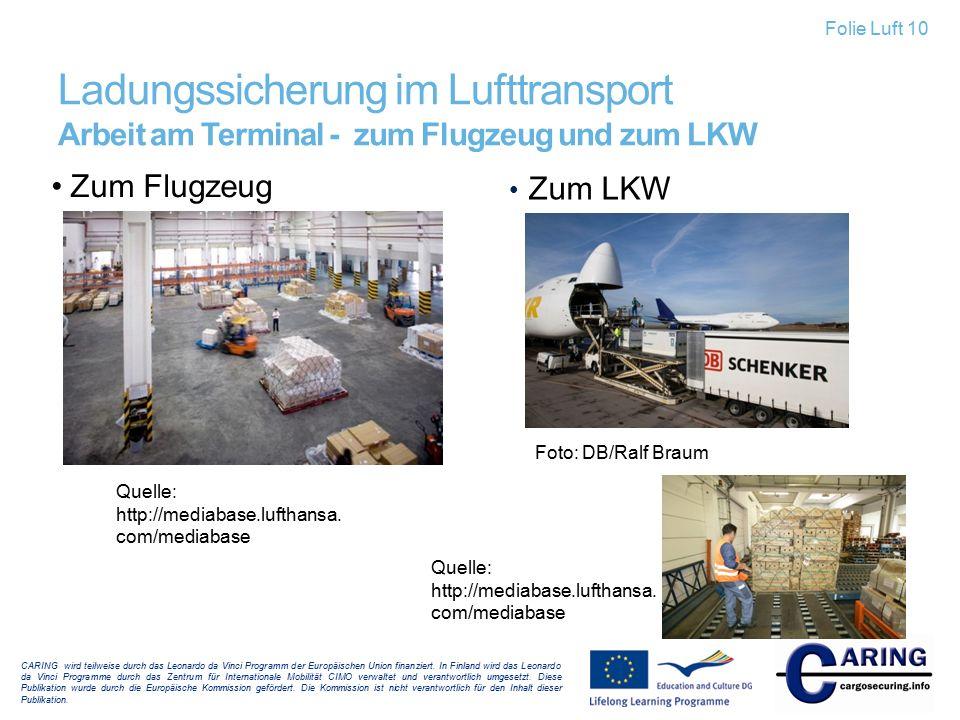 Ladungssicherung im Lufttransport Arbeit am Terminal - zum Flugzeug und zum LKW Zum LKW Zum Flugzeug CARING wird teilweise durch das Leonardo da Vinci