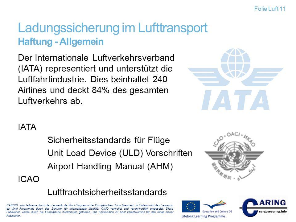 Ladungssicherung im Lufttransport Haftung - Allgemein CARING wird teilweise durch das Leonardo da Vinci Programm der Europäischen Union finanziert. In