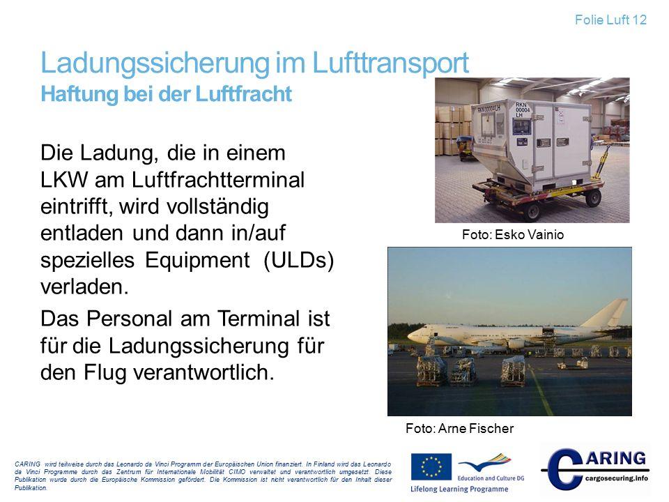 Ladungssicherung im Lufttransport Haftung bei der Luftfracht Die Ladung, die in einem LKW am Luftfrachtterminal eintrifft, wird vollständig entladen u