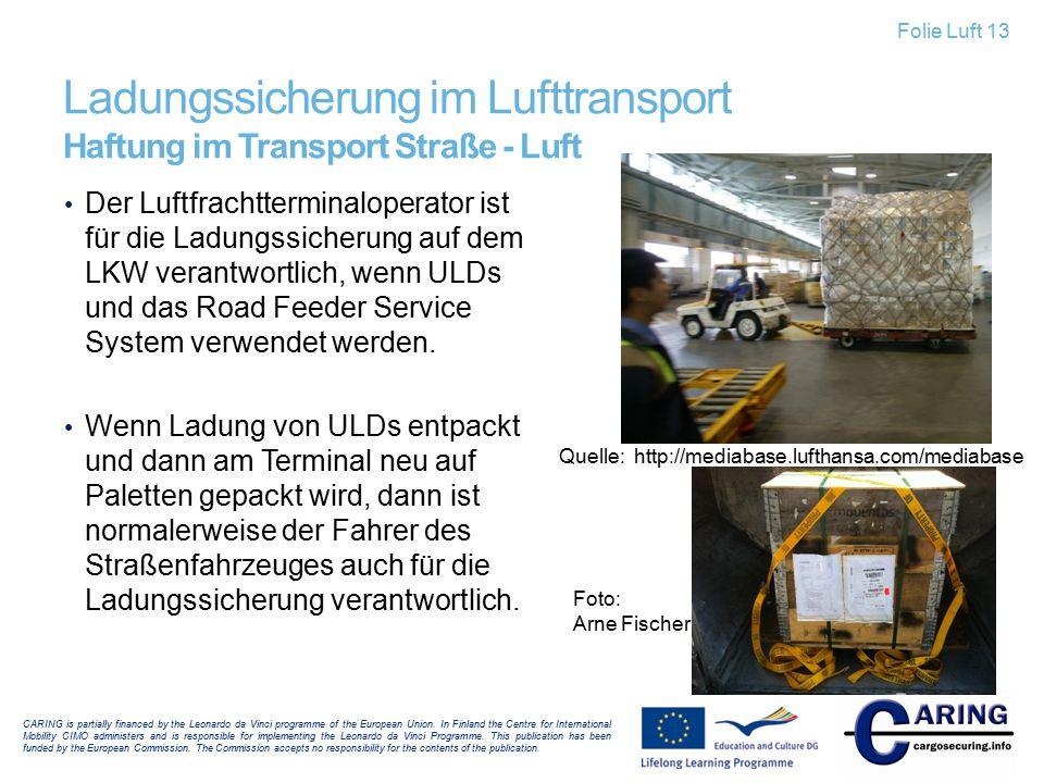 Ladungssicherung im Lufttransport Haftung im Transport Straße - Luft Der Luftfrachtterminaloperator ist für die Ladungssicherung auf dem LKW verantwor