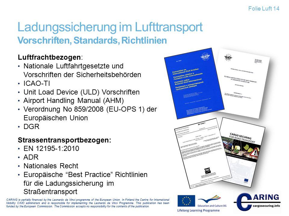 Ladungssicherung im Lufttransport Vorschriften, Standards, Richtlinien Luftfrachtbezogen: Nationale Luftfahrtgesetzte und Vorschriften der Sicherheits