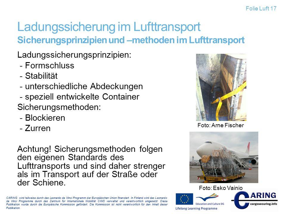 Ladungssicherung im Lufttransport Sicherungsprinzipien und –methoden im Lufttransport Ladungssicherungsprinzipien: - Formschluss - Stabilität - unters