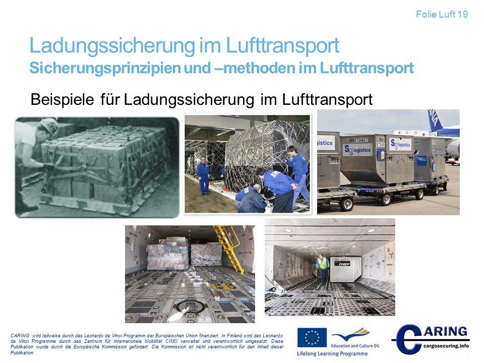 Beispiele für Ladungssicherung im Lufttransport CARING wird teilweise durch das Leonardo da Vinci Programm der Europäischen Union finanziert. In Finla