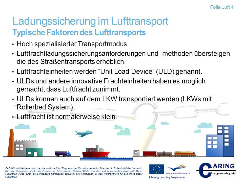 Ladungssicherung im Lufttransport Typische Faktoren des Lufttransports Hoch spezialisierter Transportmodus. Luftfrachtladungssicherungsanforderungen u