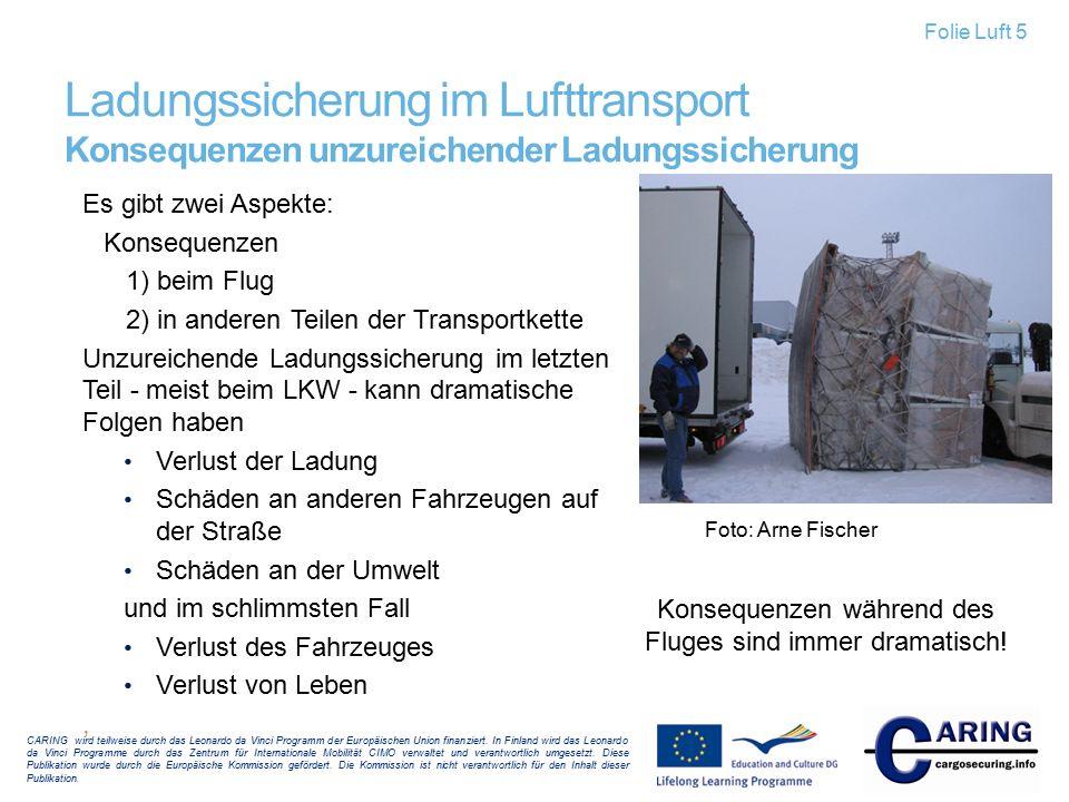 Ladungssicherung im Lufttransport Konsequenzen unzureichender Ladungssicherung Es gibt zwei Aspekte: Konsequenzen 1) beim Flug 2) in anderen Teilen de