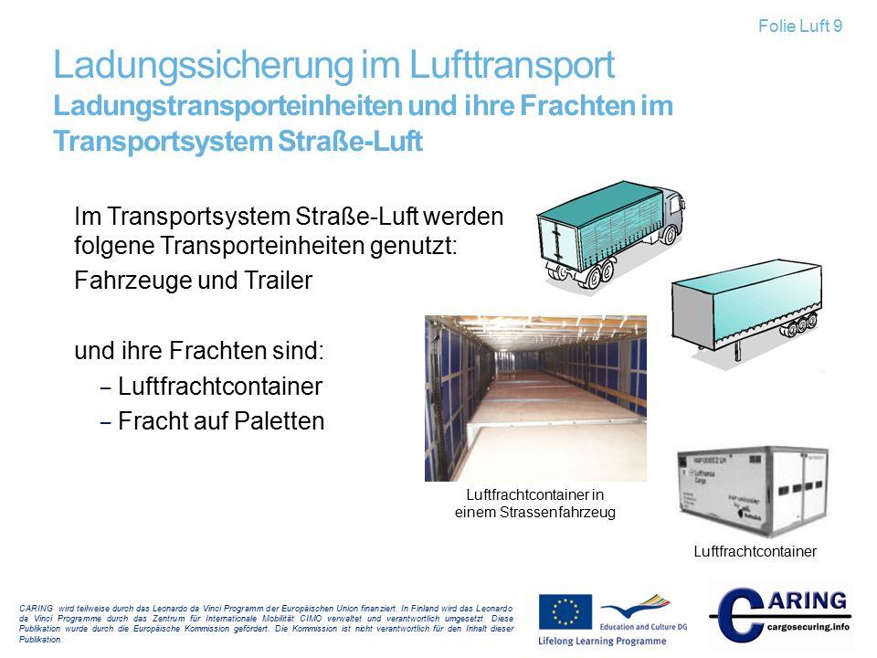 Im Transportsystem Straße-Luft werden folgene Transporteinheiten genutzt: Fahrzeuge und Trailer und ihre Frachten sind: – Luftfrachtcontainer – Fracht