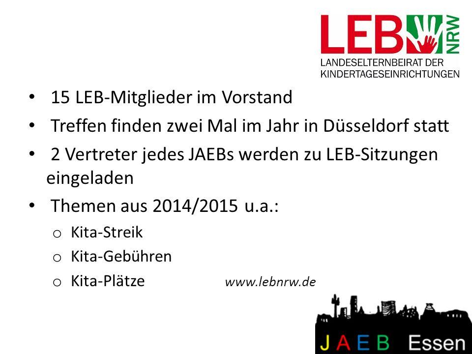 15 LEB-Mitglieder im Vorstand Treffen finden zwei Mal im Jahr in Düsseldorf statt 2 Vertreter jedes JAEBs werden zu LEB-Sitzungen eingeladen Themen au