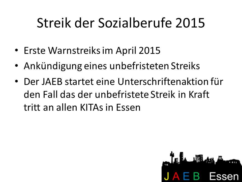 Streik der Sozialberufe 2015 Erste Warnstreiks im April 2015 Ankündigung eines unbefristeten Streiks Der JAEB startet eine Unterschriftenaktion für de