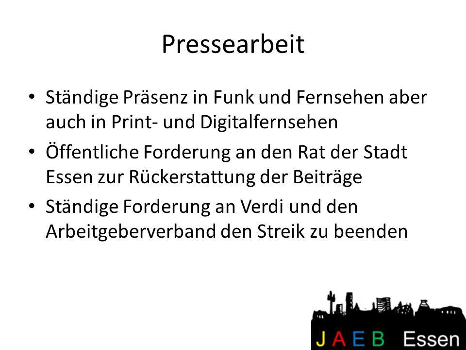 Pressearbeit Ständige Präsenz in Funk und Fernsehen aber auch in Print- und Digitalfernsehen Öffentliche Forderung an den Rat der Stadt Essen zur Rück
