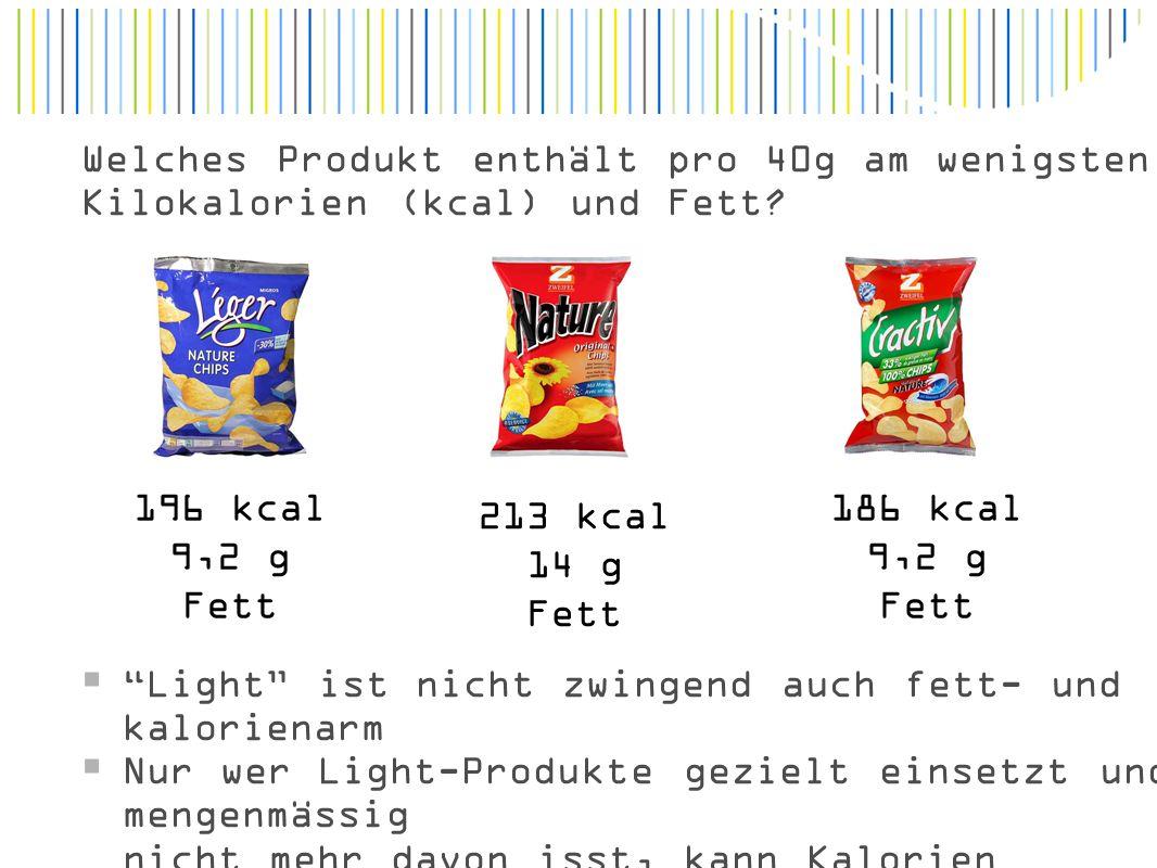 Welches Produkt enthält pro 40g am wenigsten Kilokalorien (kcal) und Fett.