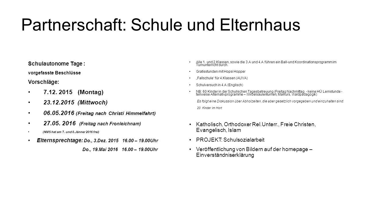 Partnerschaft: Schule und Elternhaus Schulautonome Tage : vorgefasste Beschlüsse Vorschläge: 7.12. 2015 (Montag) 23.12.2015 (Mittwoch) 06.05.2016 (Fre