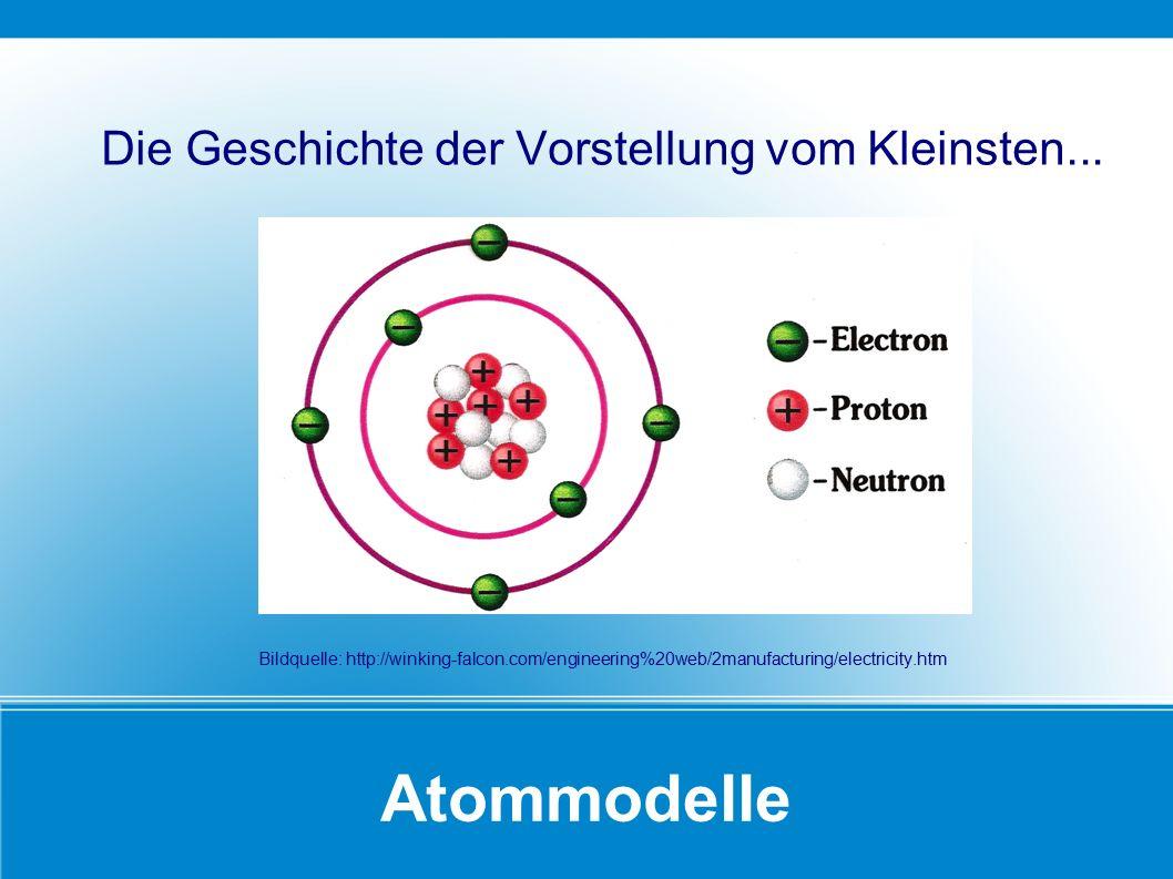 Atommodelle Die Geschichte der Vorstellung vom Kleinsten... Bildquelle: http://winking-falcon.com/engineering%20web/2manufacturing/electricity.htm