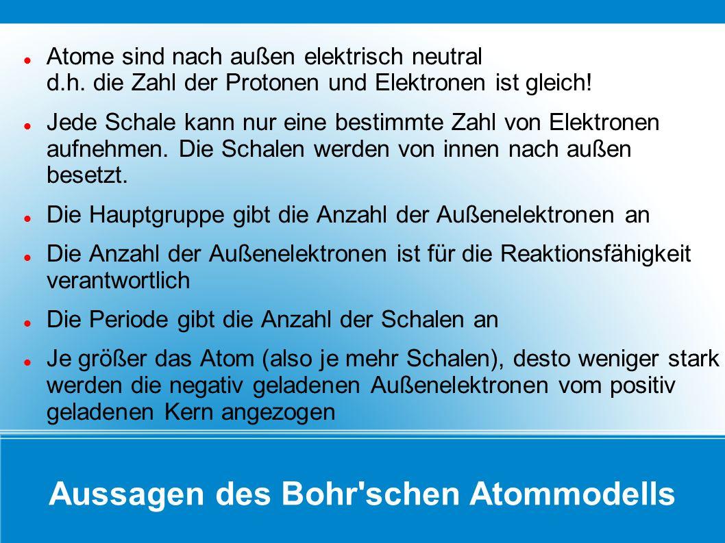 Aussagen des Bohr'schen Atommodells Atome sind nach außen elektrisch neutral d.h. die Zahl der Protonen und Elektronen ist gleich! Jede Schale kann nu