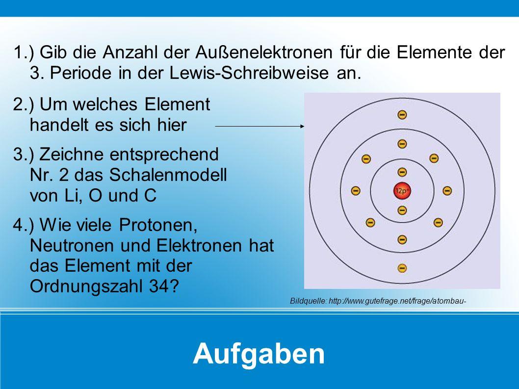 Aufgaben 1.) Gib die Anzahl der Außenelektronen für die Elemente der 3. Periode in der Lewis-Schreibweise an. 2.) Um welches Element handelt es sich h