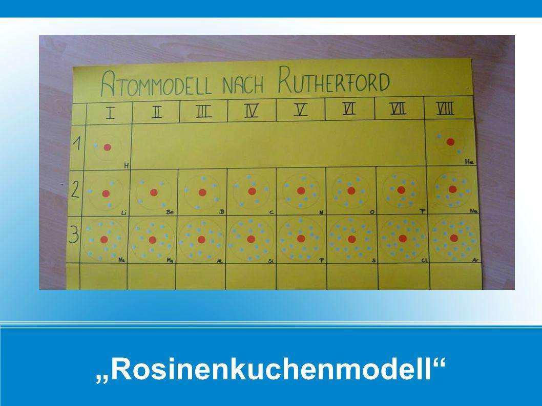 Niels Bohr (1885 -1962) Das Schalenmodell: Al 13 26,98 Atommasse (= Protonen + Neutronen) Ordnungszahl = Anzahl der Protonen = Anzahl der Elektronen) Die negativ geladenen Elektronen sind schalenartig um den positiv geladenen Atomkern angeordnet.