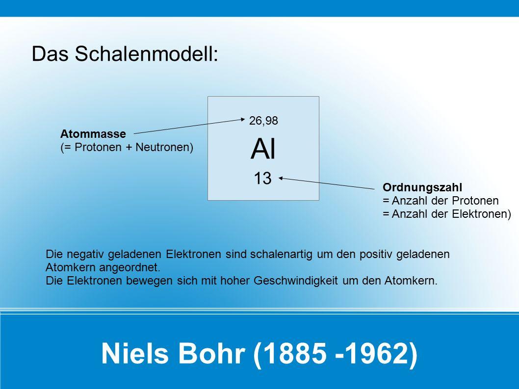 Niels Bohr (1885 -1962) Das Schalenmodell: Al 13 26,98 Atommasse (= Protonen + Neutronen) Ordnungszahl = Anzahl der Protonen = Anzahl der Elektronen)