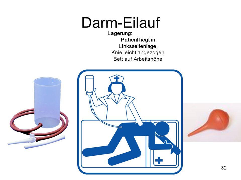 32 Darm-Eilauf Lagerung: Patient liegt in Linksseitenlage, Knie leicht angezogen Bett auf Arbeitshöhe