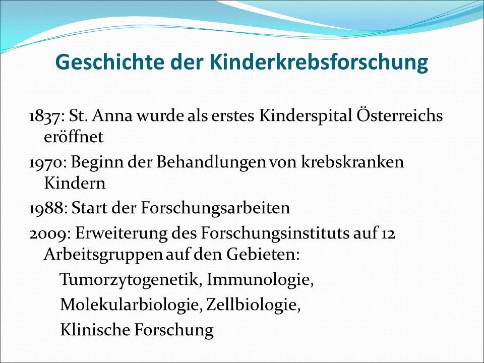 Geschichte der Kinderkrebsforschung 1837: St. Anna wurde als erstes Kinderspital Österreichs eröffnet 1970: Beginn der Behandlungen von krebskranken K