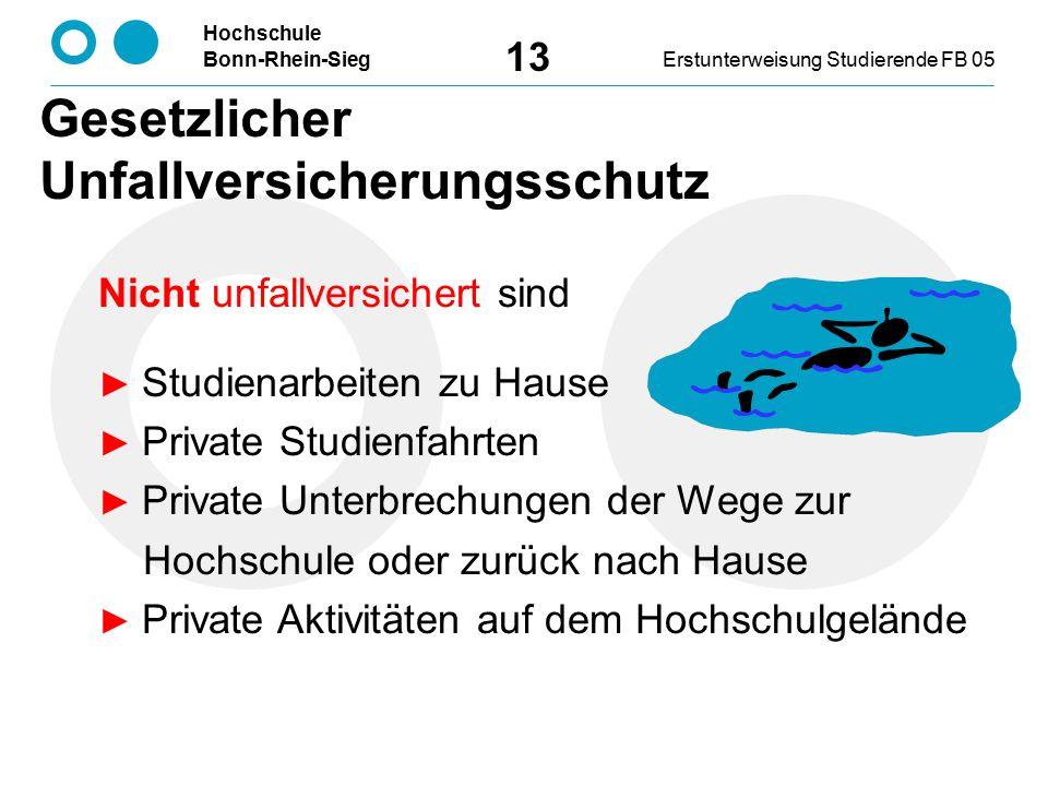 Hochschule Bonn-Rhein-SiegErstunterweisung Studierende FB 05 13 Nicht unfallversichert sind ► Studienarbeiten zu Hause ► Private Studienfahrten ► Priv
