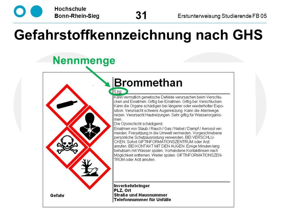 Hochschule Bonn-Rhein-SiegErstunterweisung Studierende FB 05 31 Nennmenge Gefahrstoffkennzeichnung nach GHS