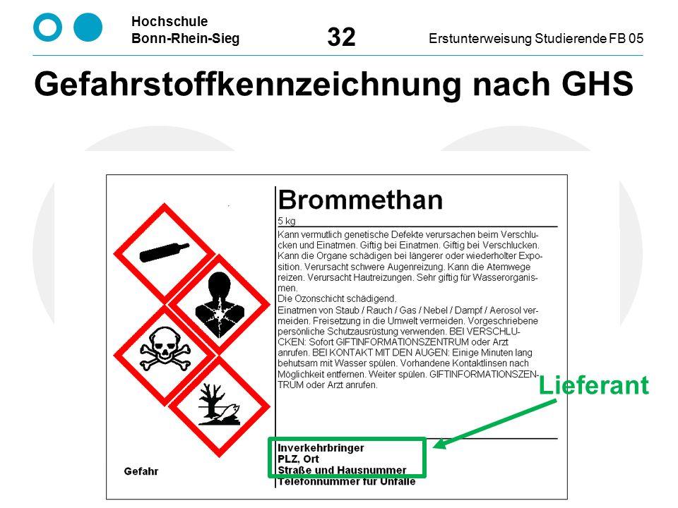 Hochschule Bonn-Rhein-SiegErstunterweisung Studierende FB 05 32 Lieferant Gefahrstoffkennzeichnung nach GHS