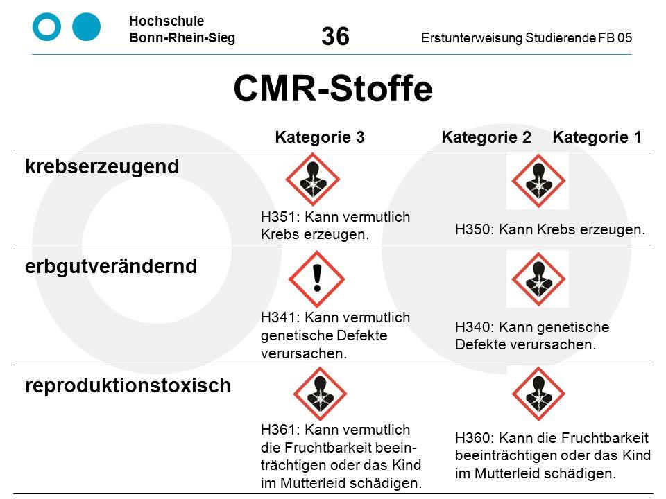 Hochschule Bonn-Rhein-SiegErstunterweisung Studierende FB 05 36 H351: Kann vermutlich Krebs erzeugen. H341: Kann vermutlich genetische Defekte verursa