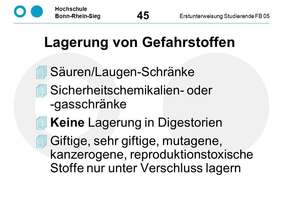 Hochschule Bonn-Rhein-SiegErstunterweisung Studierende FB 05 45  Säuren/Laugen-Schränke  Sicherheitschemikalien- oder -gasschränke  Keine Lagerung