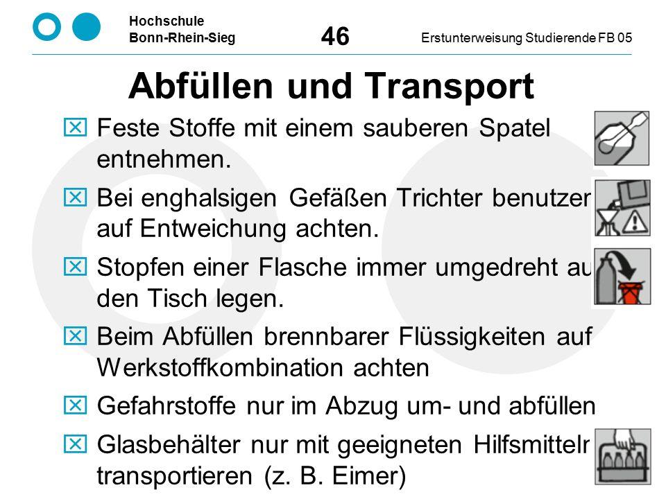Hochschule Bonn-Rhein-SiegErstunterweisung Studierende FB 05 46 Abfüllen und Transport  Feste Stoffe mit einem sauberen Spatel entnehmen.