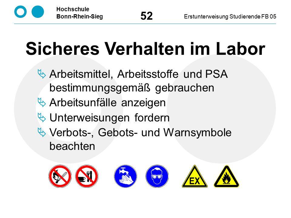 Hochschule Bonn-Rhein-SiegErstunterweisung Studierende FB 05 52 Sicheres Verhalten im Labor  Arbeitsmittel, Arbeitsstoffe und PSA bestimmungsgemäß gebrauchen  Arbeitsunfälle anzeigen  Unterweisungen fordern  Verbots-, Gebots- und Warnsymbole beachten